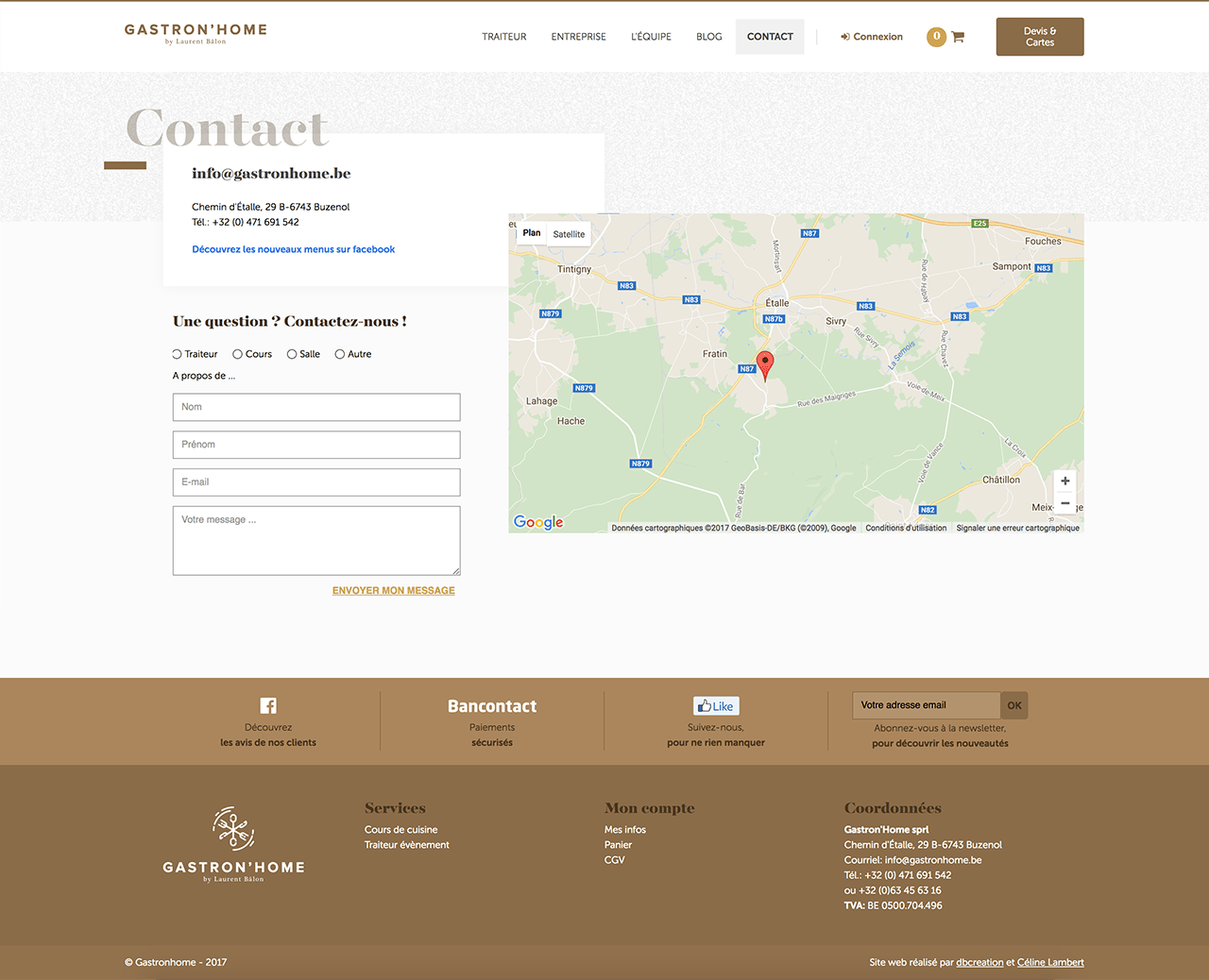 Page contact du site gastronhome.be